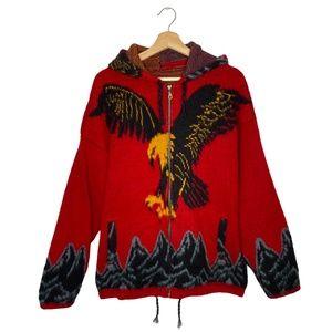 VTG Tejidos Ruminahui Red Wool Eagle Sweater XL